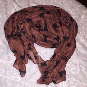Brown scarf w/ black horses. OS